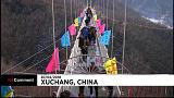 A new glass suspension bridge inaugurated in China