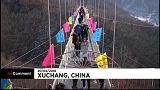 A new glass suspension bridge inaugurated in China