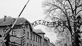 """Das Tor zum KZ Auschwitz in Polen mit der Aufschrift """"Arbeit macht frei"""""""
