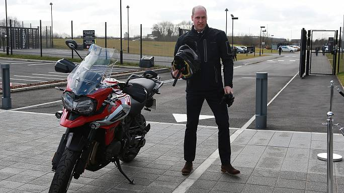 Prince William showed how to ride a Triumph motorbike and drive an Aston Martin