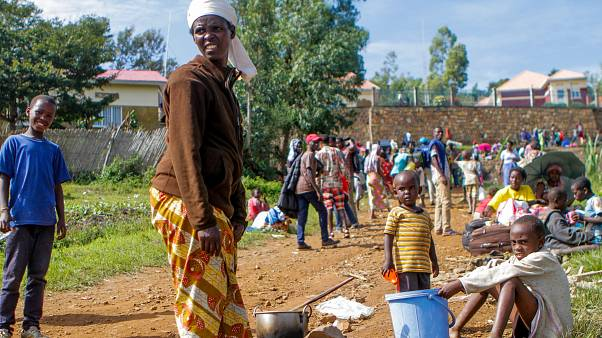 Refugees at the Karongi camp in western Rwanda