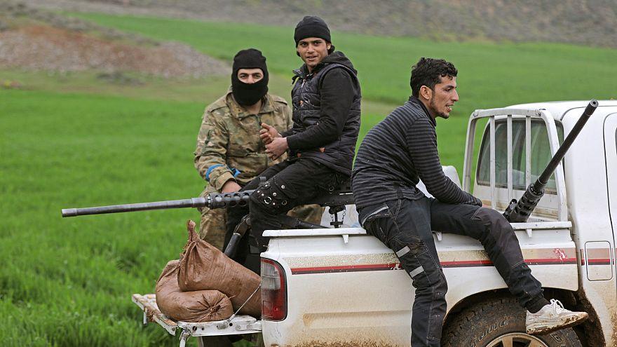Türkische Kämpfer in der Nähe von Afrin in Nordsyrien
