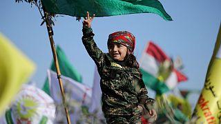 تظاهرات کردها در قامشلی علیه عملیات ترکیه در خاک سوریه