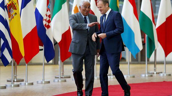 O primeiro-ministro português, António Costa, com Donald Tusk