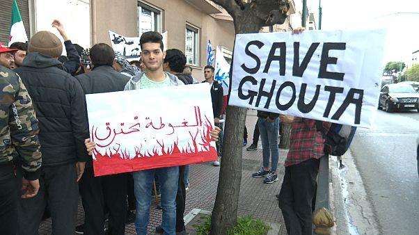 Πορεία Σύρων προσφύγων για τη Γούτα