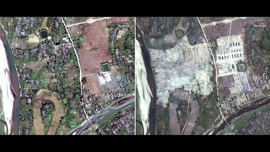 صورة بالقمر الصناعي تُظهر قرى الروهينغا قبل وبعد مسح آثار العدوان