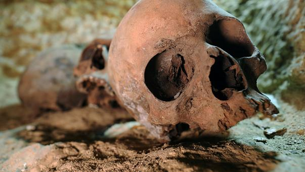 Skulls are seen inside the recently discovered burial site in Minya