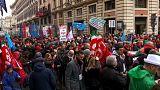 Jornada de manifestaciones en Italia