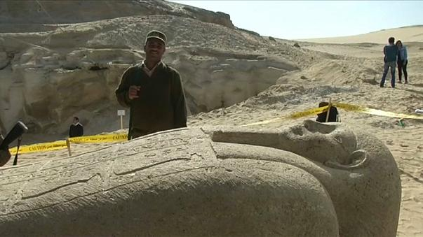 Egyptian archaeologists discover an ancient cemetery south of Cairo.