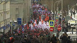Marcha en Moscú en el aniversario del asesinato del opositor Nemtsov