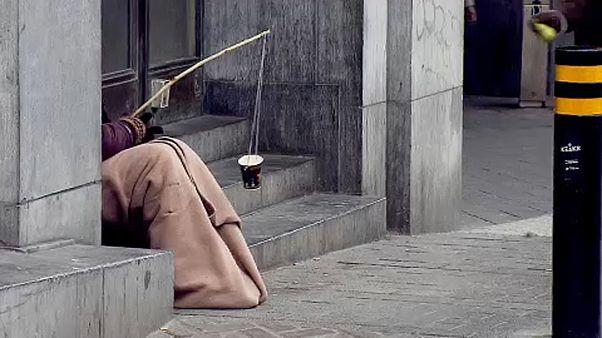 Obdachloser in den Straßen von Brüssel