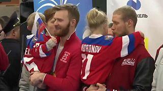 Встреча олимпийцев в Шереметьеве
