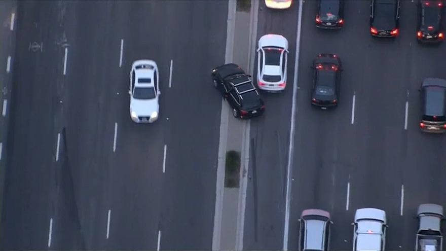 Dramatic car chase in California
