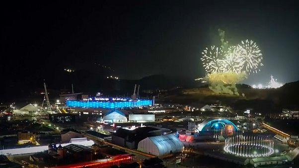 Olympics closing fireworks timelapse