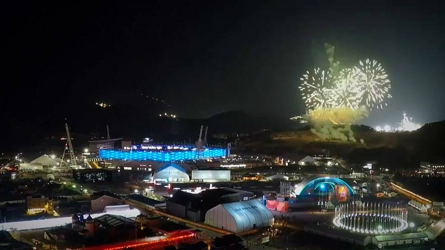Olympics closing fireworks timelapse