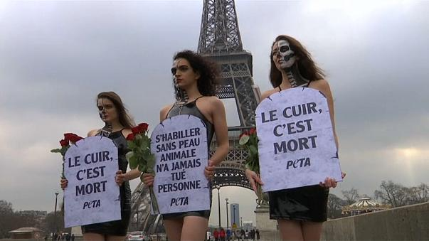 Models brave Paris chill to protest against leather