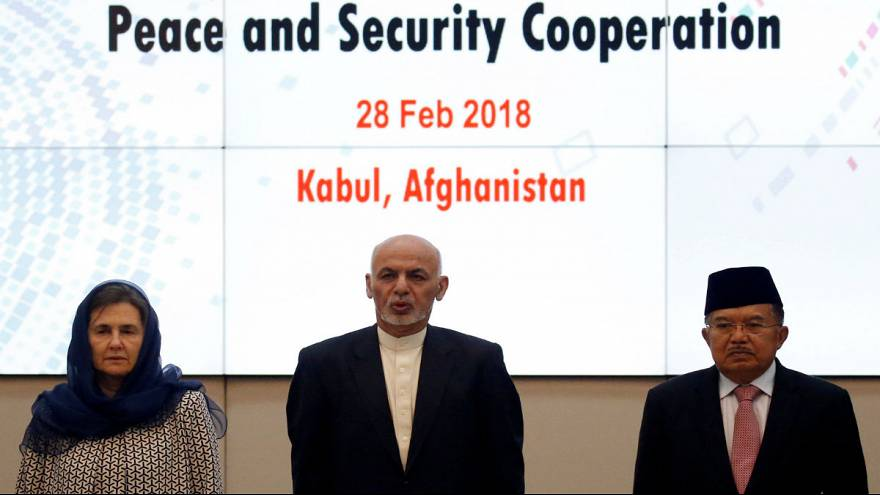 Afghan President Ashraf Ghani, Indonesian Vice President Muhammad Jusuf Kal