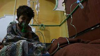 Child survivor of alleged poison gas attack in Ghouta