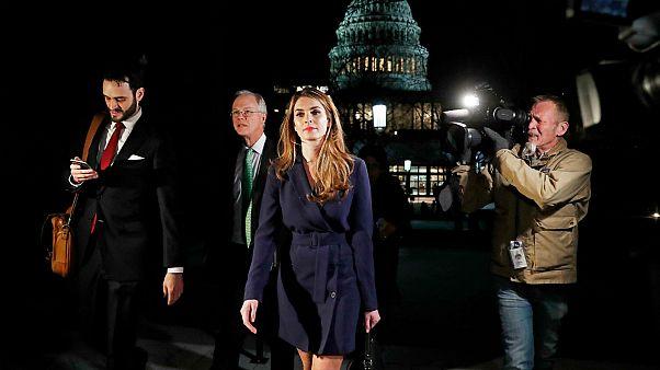 Hope Hicks leaves a House Intelligence Committee meeting, Feb. 27, 2018