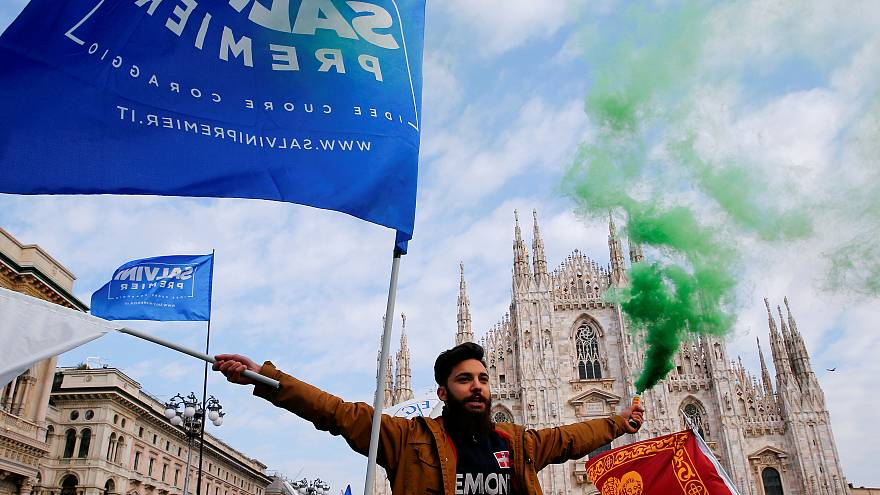 An Italian Northern League supporter during a rally in Milan on Febuary 24