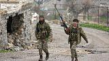 Kämpfer der syrischen Rebellengruppen nahe Afrin