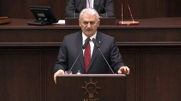Turkish prime minister Binali Yildrim addresses parliament