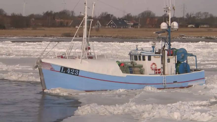 Fishing boat rams bridge in Denmark