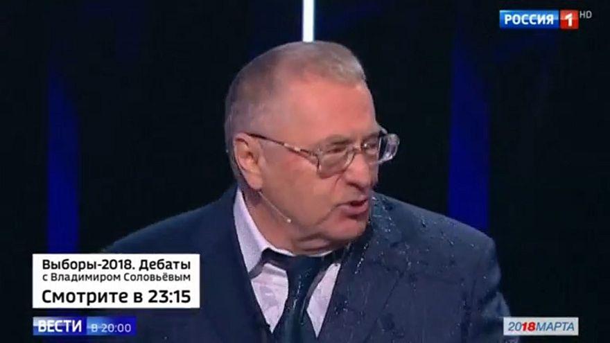 Zhirinovsky got a soaking during the debate