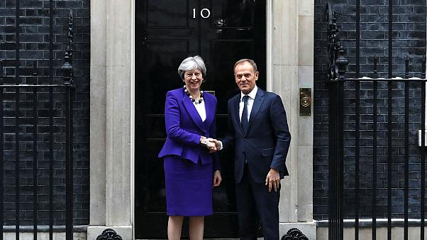 Theresa May and European Council President Donald Tusk in London, March 1