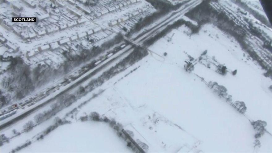Aerial shots of stranded motorists