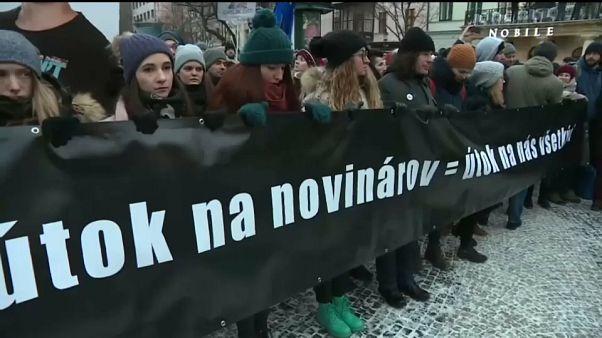Multitudinaria manifestación en Bratislava en recuerdo de Jan Kuciak