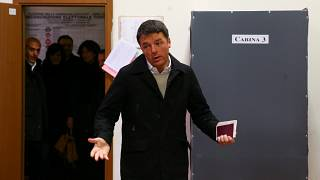 Democratic Party leader Matteo Renzi arrives to cast his vote