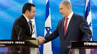 Guatemalan President Jimmy Morales and Israeli Prime Minister Benjamin Neta
