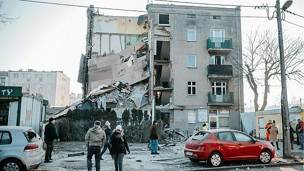 The collapsed building in Poznan, Poland, March 4, 2018