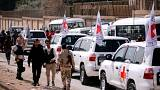 Red Cross convoy seen crossing into eastern Ghouta