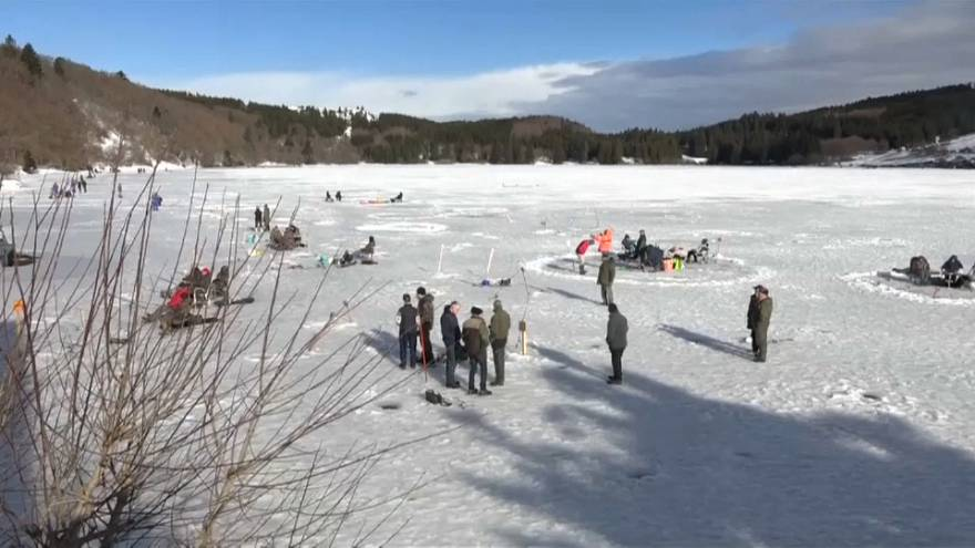 Ice fishing in France