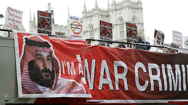 ماي تجري محادثات مع بن سلمان في مقر إقامتها الريفي واحتجاجات في لندن ضد زيارته
