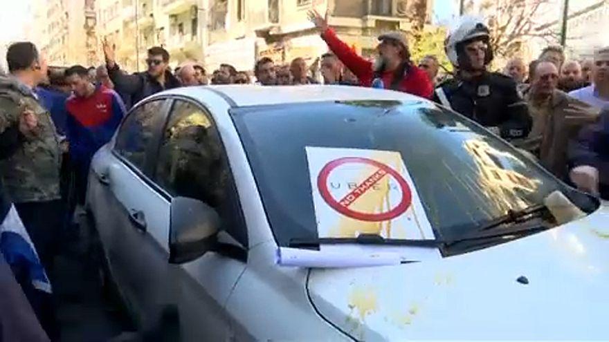 Protestos anti-Uber em Atenas