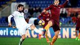 Davide Astori e Edin Dzeko in Roma-Fiorentina