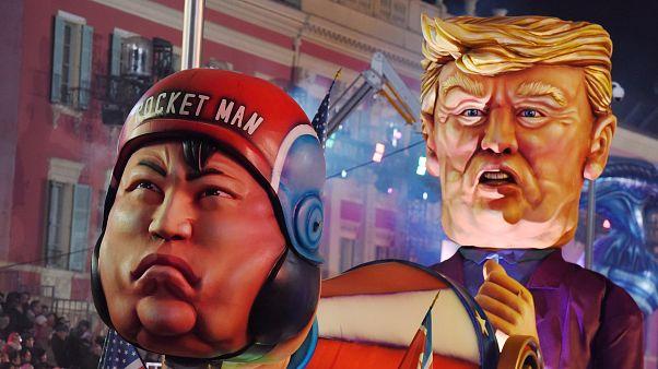 """Kim Jong-Un e Donald Trump """"visti"""" dal 134° carnevale di Nizza (20 febbraio"""