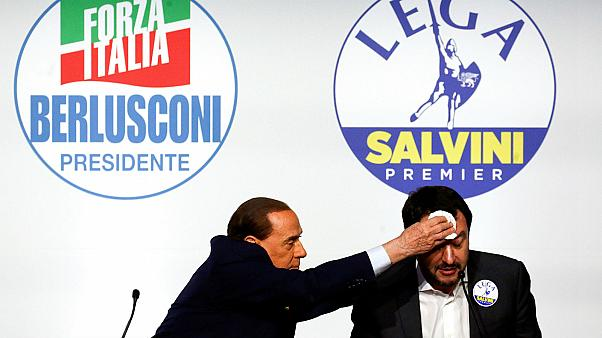 Silvio Berlusconi wipes the sweat off League leader Matteo Salvini