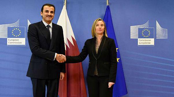 أمير قطر الشيخ تميم بن حمد آل ثاني وفردريكا موغريني