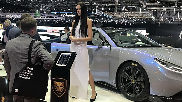 A model at the Lvchi stand at the Geneva Motor Show