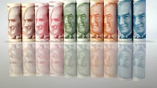 صورة توضيحية لأوراق نقدية فئة الليرة التركية