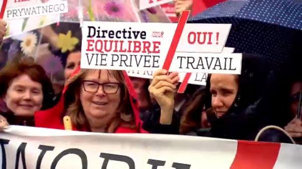 Nőnapi demonstráció Brüsszelben