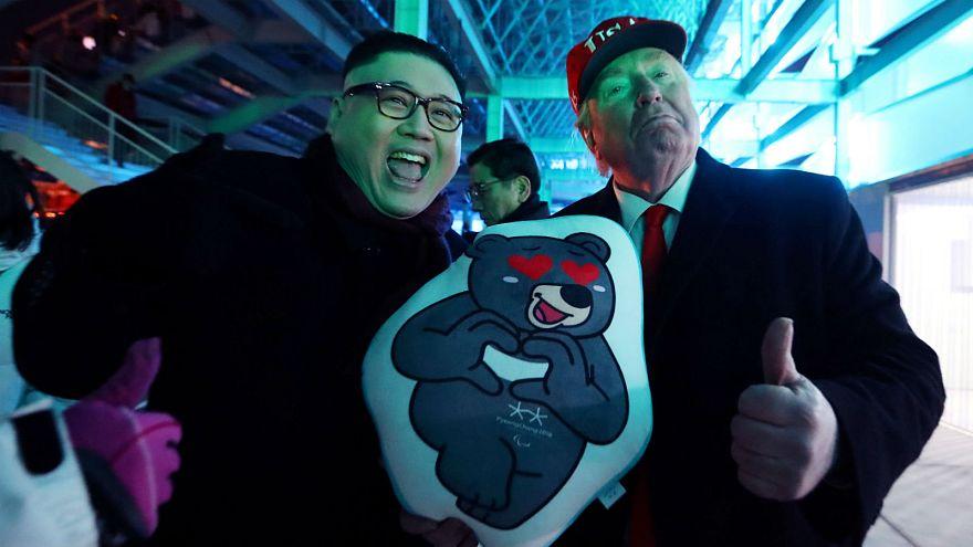 Trump and Kim Jong Un impersonators at the Pyeongchang Games, February 25