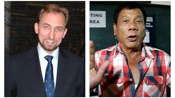 زید رعد حسین، کمیسر حقوق بشر ملل متحد و رودریگو دوترته، رئیس جمهور فیلیپین