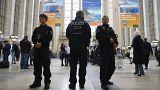 Polizei steht Wache auf der Reisemesse ITB in Berlin