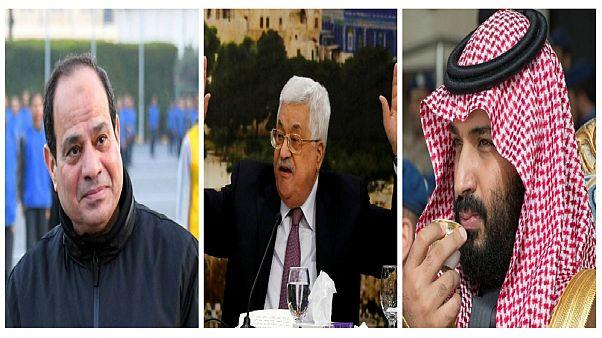 من اليمين، محمد بن سلمان ومحمود عباس وعبد الفتاح السيسي