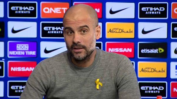 Pep Guardiola durante una rueda de prensa